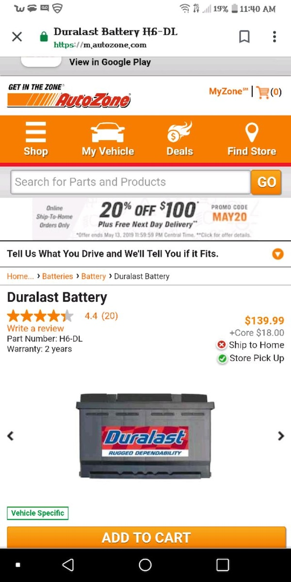 Brand new Duralast battery H6-DL