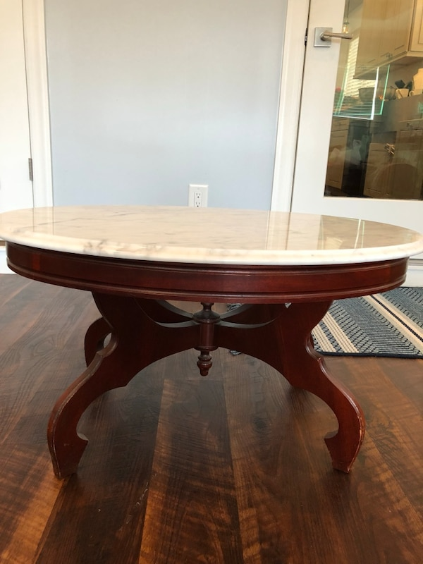Brukt Real Italian White Marble Coffee Table Real Brown Wood Oval