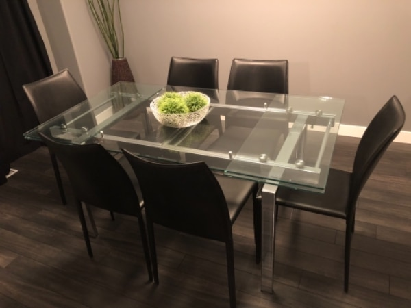 Used Rectangular Glass Top Table With Six Chairs Dining Set For Sale In WINNIPEG