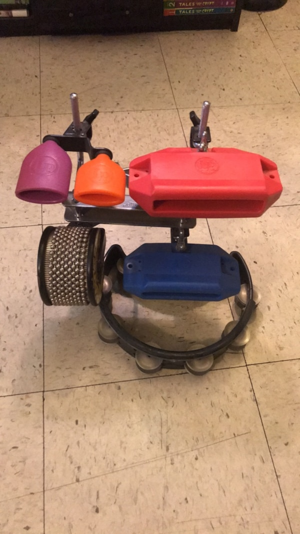 drums, percussion rig, 4 different LP block sounds with rhythm tech  tambourine and dj scratch style cabasa  With hat trick hi hat tambourine  clamp and