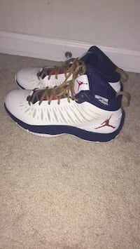 pair of white-and-blue Air Jordan 12 Lorton, 22079