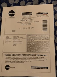 Two Tickets to Johnny Reid December 1st