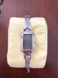 Emporio Armani Square silver analog watch with silver link bracelet New York, 11372