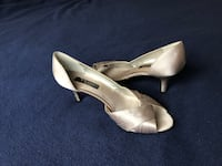 Pair of silver peep toe high heels size 9.5 Washington, 20008