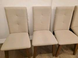 Set of 6 Beige Cloth Dining Room Chairs