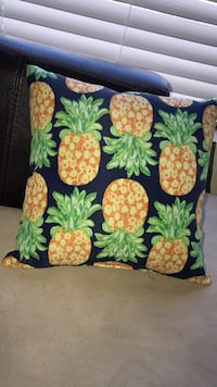 orange and green pineapple -print throw pillow