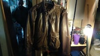 brown leather full zip jacket