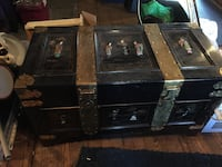 black and gray steamer trunk