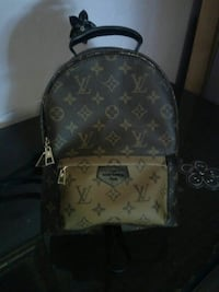 Nero e marrone Louis Vuitton monogram print zaino 7141 km