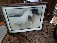 white and black horse painting with brown wooden frame Ovid, 48866