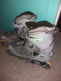 pair of gray-and-black inline skates