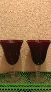 Crystal and Ruby colored Water Goblets