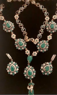 Emerald Topaz Necklace & Earrings Set