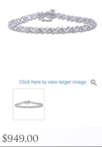 Last reduction!10k white gold Kisses & Hugs bracelet with 1 karat diam