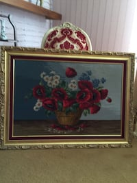 Poppies, daises and chrysanthemum needle point picture Edmonton, T6C 4C8