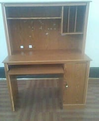 brown wooden computer desk with hutch Martinsburg