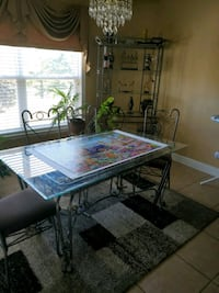 Dinning table with matching wine rack glass display
