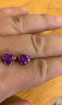 Real amethyst heart earrings Omaha, 68132