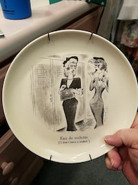 Vintage 1950 fractured French wall plate San Marcos, 92078