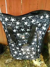 blue and white star print soft shell luggage