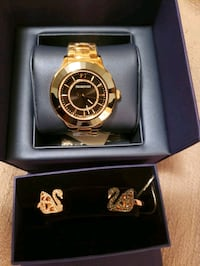 round gold-colored chronograph watch with link bracelet Little Ferry, 07643