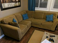 brown fabric sectional sofa with throw pillows Oshawa, L1J 4A7