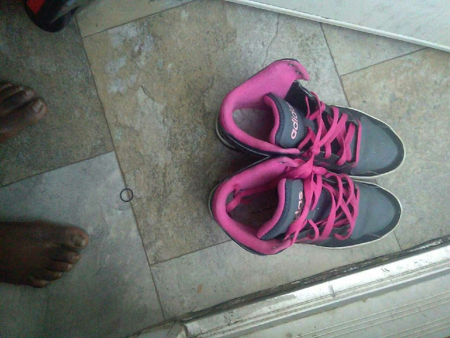 gray-and-pink shoes