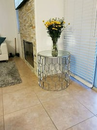 Contemporary metal glass top table Indian Wells