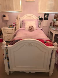 White wooden bed frame and white mattress Beverly Hills, 90210