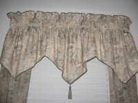 beige, green, tan cord trimmed tassel window valance - Columbia, MD Baltimore