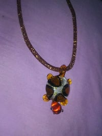 gold-colored necklace with red gemstone pendant Seneca, 64865
