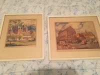 two painting of buildings with brown wooden frames Montréal, H8R 1R5