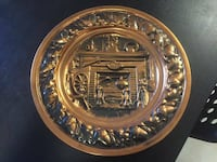 """Vintage 10.5"""" Decorative Wall Copper Hanging Plate New Westminster"""
