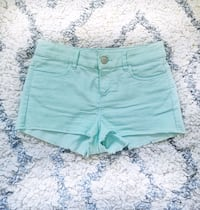 mint denim booty shorts