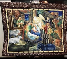 Nativity scene fabric wallhanging handmade.