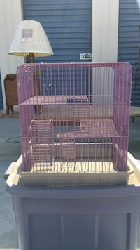 pink and white metal birdcage