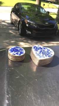 two white and blue floral print jewelry containers Doraville, 30340
