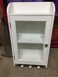 Shelf White wooden framed glass display cabinet