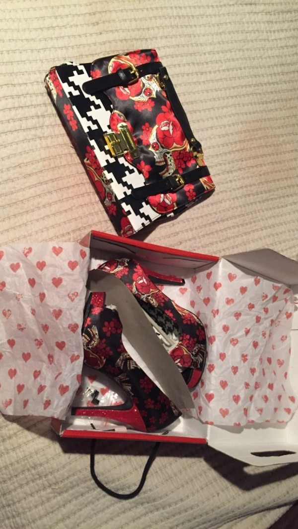 BRAND NEW woman's heels and matching purse. Size 8