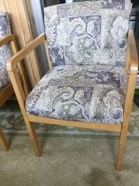 brown wooden framed gray floral padded armchair Laval, H7N