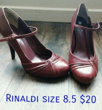pair of brown leather ankle strap heeled shoes Sylvan Lake