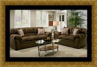 Chocolate fabric sofa and loveseat Severn