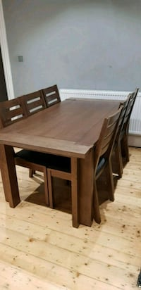 rectangular brown wooden expandable table with six chairs  Watford, WD24 5EN