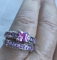 Size 9 Princess Cut Pink Stone Ring. .925 Silver Wedding Set. Brand New. Fun fashion jewelry from Sparkling Treasures. Comes in a beautiful gift bag.