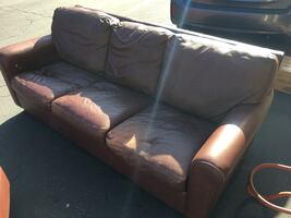 Leather Sofa & chair with ottoman