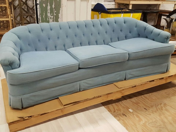 Fabulous Blue Tufted Sofa Couch Pabps2019 Chair Design Images Pabps2019Com