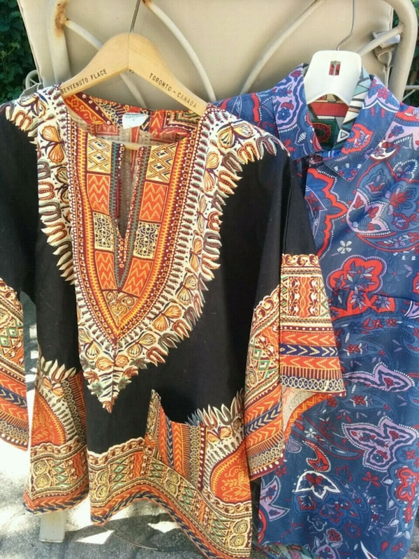 red, blue, and white tribal print cardigan