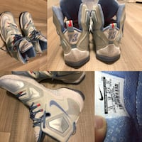 Pair of gray-white-and-blue air jordan shoes collage