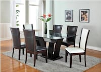 Rectangular brown wooden table with six chairs dining set Toronto, M1E 4S9