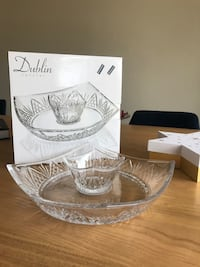 crystal chip and dip bowl / kitchen appliances/ tableware/ dishes